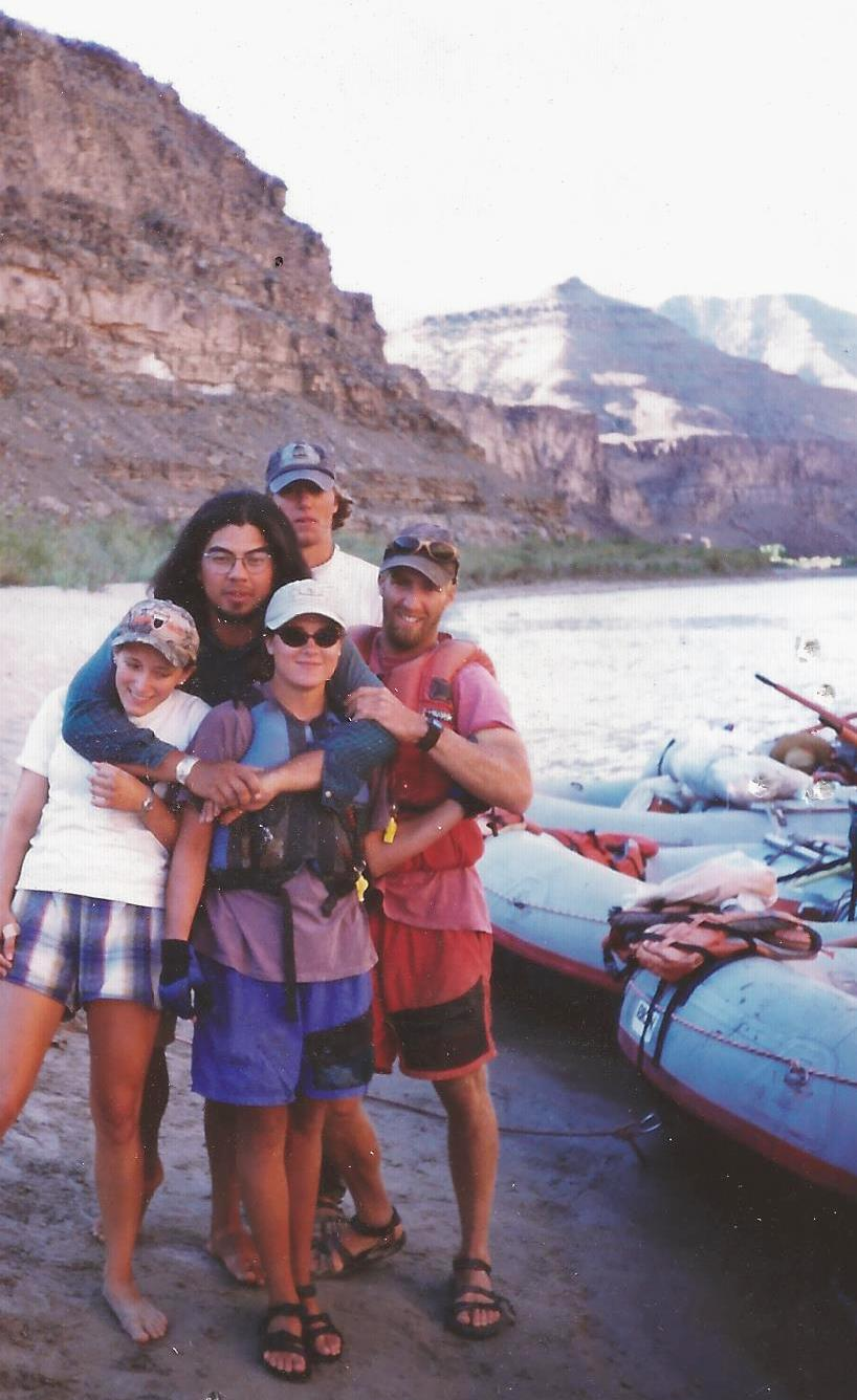 Ashley Knight (center front) and Jeff Cole (right) on the river with Ariana, Kimo and Adam Teel.