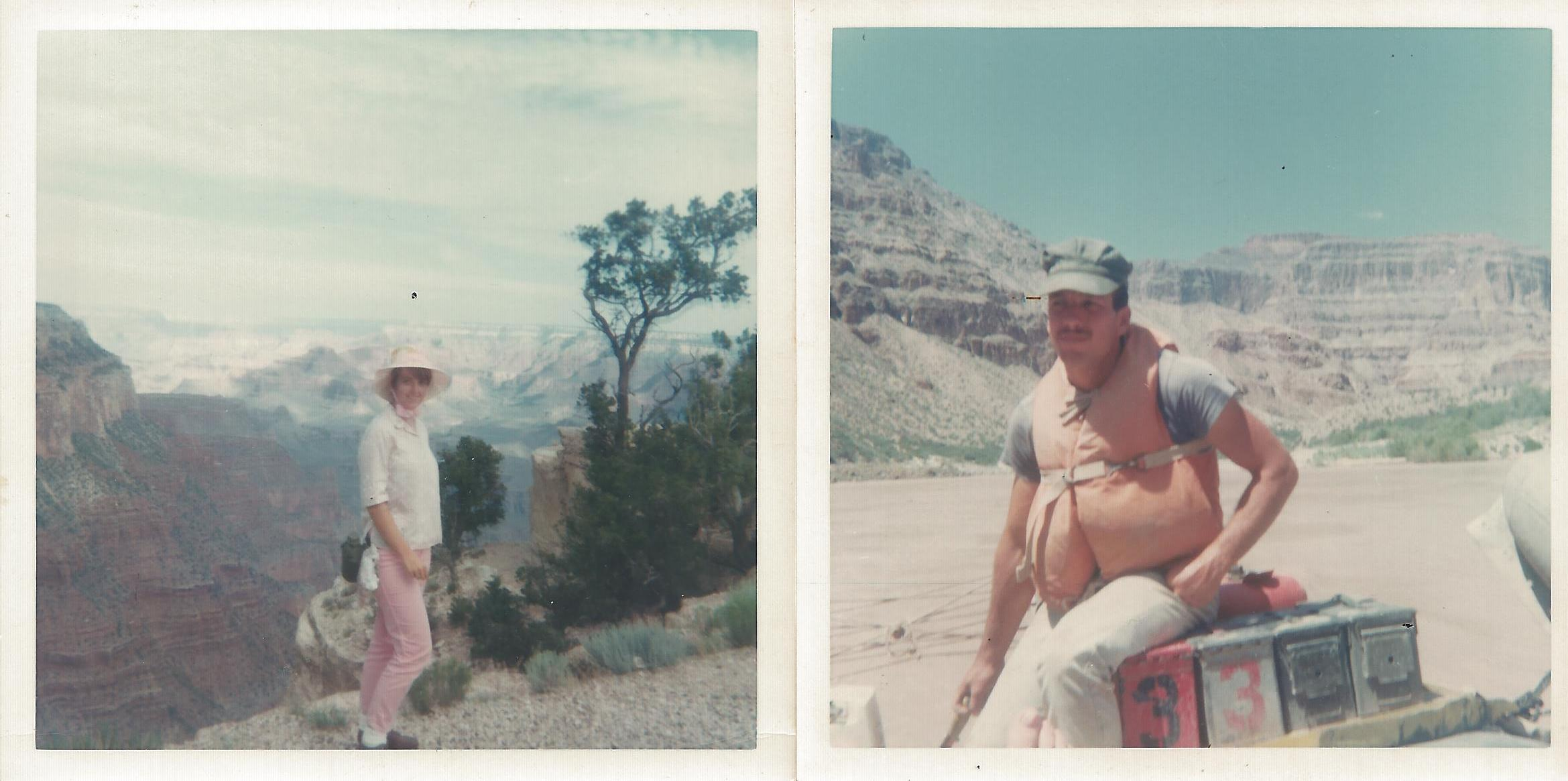 Vicki Woodruff hiking down the Kaibab Trail to join the river trip Aug. 10, 1968.  Dave Mackay running the boat in the Grand Canyon Aug. 13, 1968.