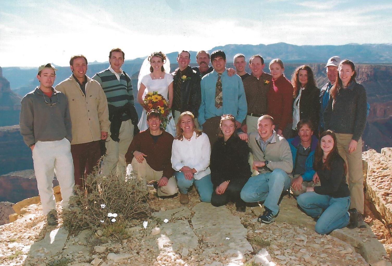 The Crate guide family with Walker and Mindy Mackay at their wedding on the rim of the Grand Canyon.