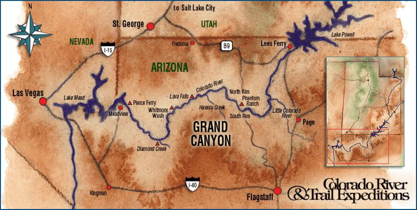 Grand Canyon Rafting Trip Green River Rafting Colorado River Alaska - Colorado river map world atlas