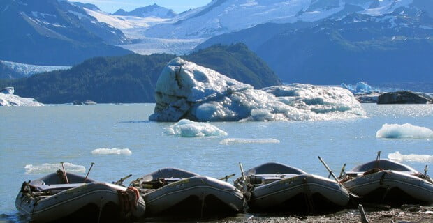 Boats Lined Up Amongst the Ice at Alsek Lake
