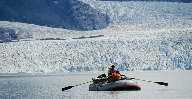 Rowing on Alsek Lake after the Confluence with the Alsek