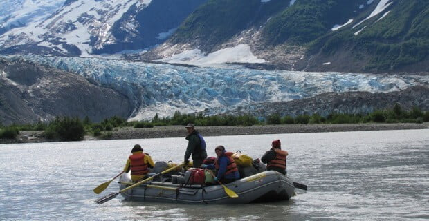 Getting ready to camp at the Walker Glacier