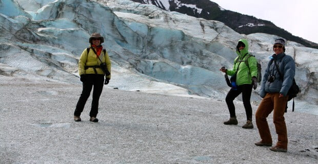 Hiking on the Walker Glacier