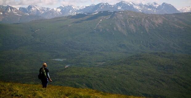 Hiking up Goat Ridge