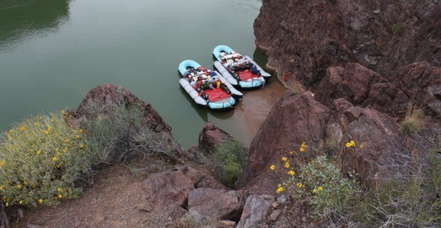 Boats Tied Up During Off-River Hike