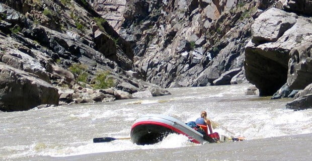 Plunging into one of Westwater's Rapids