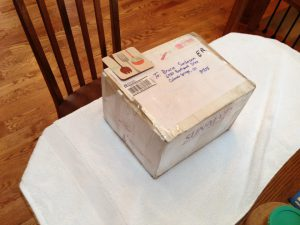The package we sent to Bruce.