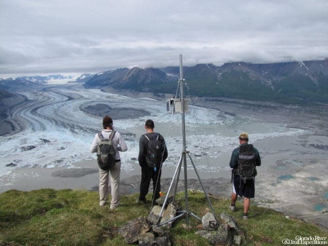 taking in the view of Lowell Lake and Glacier from Goatherd Mountain.