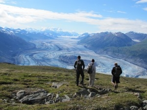 Hikers atop Goatherd Mountain in Kluane National Park.